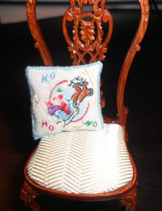 Dollhouse Miniature Needlepoint Christmas Pillow by ScarletSails, $55.00