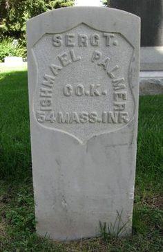 Grave of Sgt. Ishmael Palmer, Co. K - 54th Massachusetts Volunteer Infantry