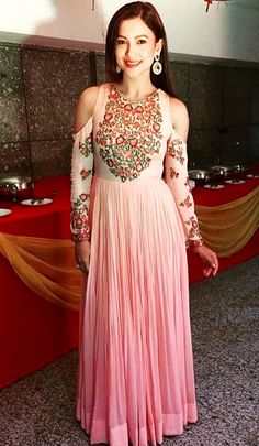 Gauhar Khan clicked in a pretty looking Floor length Anarkali.