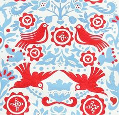 1 Yard Quilt Fabric La Paloma Folkloric Bird Fabric Red White Blue | auntiechrisquiltfabric - Craft Supplies on ArtFire