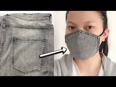 NO SEW! EASY Face Mask from Jeans Pocket with Filter Pocket and Nose Wire! - YouTube