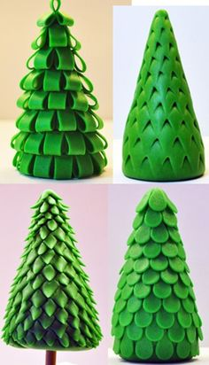 Cake & Cupcake Toppers Inspiration - Christmas, Pine Tree Styles, Fondant - IDEAS only! Unless you want to search and search and search the website. Christmas Cake Topper, Christmas Tree Cake, Christmas Cake Decorations, Christmas Cupcakes, Christmas Sweets, Christmas Baking, Xmas Trees, Fondant Toppers, Fondant Cakes