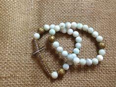 Sideways Cross Bracelet Set with Light Blue Stone by AroundMyWrist, $20.00
