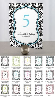 Love Bird Damask Table Number Cards (15 Colors) from Wedding Favors Unlimited
