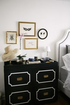 Rue Magazine: Chic black & white bedroom with black Dorothy Draper Chest with brass hardware, white ...