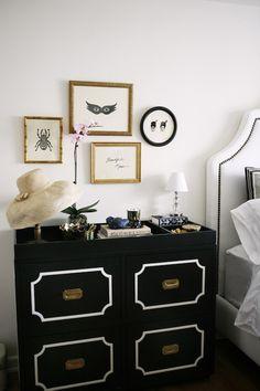 Rue Magazine: Chic black & white bedroom with black Dorothy Draper Chest with brass hardware, white ...