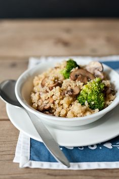 Caramelised Onion, Broccoli and Mushroom Quinoa. (Tried. Kids loved. Success.)