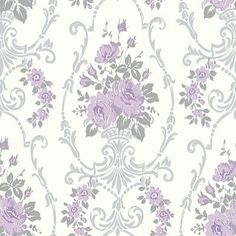 Darcy Lilac (617505) - Arthouse Wallpapers - A stunning, bold classic floral design, with bouquets of flowers within a trellis of decorative details. Shown in the lilac and silver grey. Other colours available. Please request sample for true colour match.