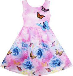 Sunny Fashion Robe Fille Rose Fleur Imprimer Papillon Broderie Pourpre 7 ans: Tweet Très élégante robe filles princesse, très confortable,…