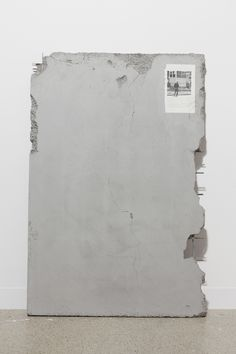 Matias Faldbakken Untitled (Salinger walking away from the interview with Betty Eppes, June 13, 1980), 2014 Cast concrete, paper and glue 120 x 80 cm (47 1/4 x 31 1/2 in.)