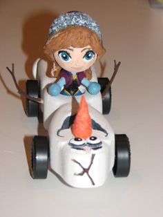 Disney Frozen Anna riding Olaf for Pinewood Derby
