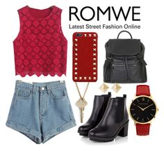"""""""Romwe: Red/Black"""" by pecolajones ❤ liked on Polyvore"""