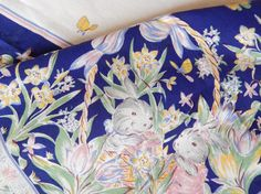 Vintage Easter Tablecloth/Easter Bunny/Easter With Children/table Linens/large  Oblong 88 X 60