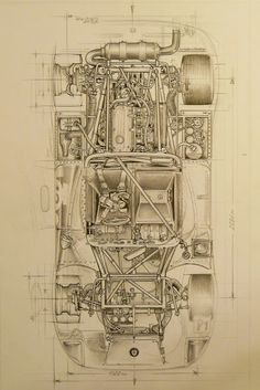The cutaway drawing and its artists - Page 260 - The Nostalgia Forum Technical Illustration, Car Illustration, Technical Drawings, Vintage Racing, Vintage Cars, Supercars, Car Posters, Car Sketch, Car Drawings