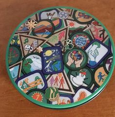 Girl Scout tin with badges