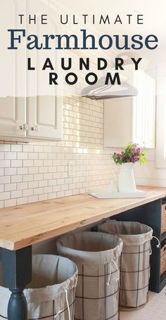 Beauttiful farmhouse laundry room! What is your favorite feature? I love the subway tile!! And those reclaimed wood countertops!