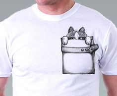 Pocket t shirt cat  tshirt Hipster Geek Cat Kitty by catssecret