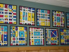 1st grade mondrian squares, use clear tape; but what paper would be good? still trying to figure that out