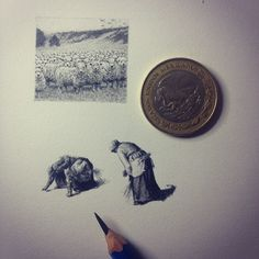 """Inspired by """"The Gleaners"""" by Jean-François Millet Detailed Tiny Miniature Ink Drawings. By Mateo Pizarro."""