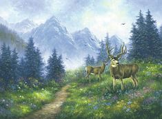 Deer Painting - Alpine Deer by Vickie Wade