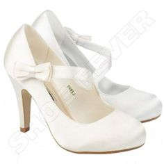 WOMENS WEDDING SHOES LADIES HEELS SATIN BRIDAL BRIDESMAID WHITE IVORY SHOES SIZE   eBay