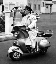 Katherine Hepburn on an early 1950's Vespa scooter built in England, called the Douglas.