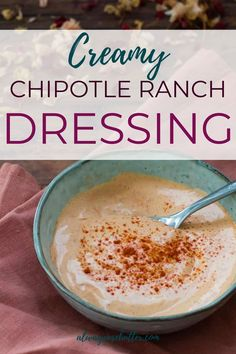 Make this spicy ranch dressing to put on all your tacos, burgers, salads and steak. It's also a perfect dip for your veggies. It's so easy, and you can make it in about 5 minutes! Taco Burger, Burger Salad, Chipotle Ranch Dressing, Homemade Sauce, Salad Dressing Recipes, Butter Recipe, Healthy Smoothies, Love Food, Breakfast Recipes