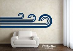 """RETRO WAVES Wall Decal 28"""" x 96"""""""