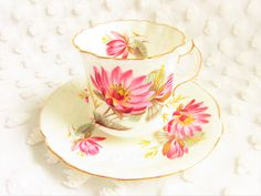 Vintage Hammersley China Pink Water Lily Teacup Saucer 1950s pattern 5792