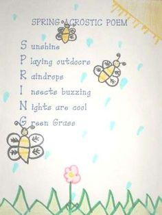 Spring is Poetry Acrostic Poem For Kids, Kids Poems, Acrostic Poems, Early Literacy, Literacy Centers, Poems For Students, Easter Poems, Spring Poem, Kids Learning