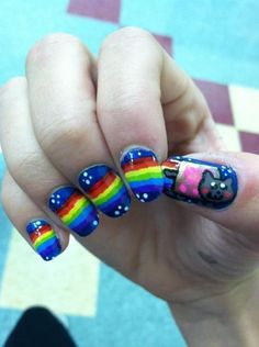 Nyan cat nails! COMMITMENT. @Evgenia Semenova Shoots