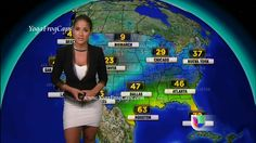 Photo of Jackie Guerrido doing the weather report on Primer Impacto | 1/8/2013 (5 of 6).  By YogaFrogCaps