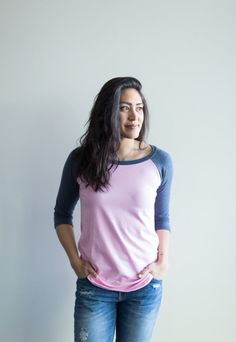 *pre-sale* Baseball tee - heather blue/pink (ships in 4 to 6 weeks) - Buttercream Clothing Comfortable Fashion, Comfortable Outfits, Cotton Fabric, How To Make, How To Wear, 3 Weeks, Tees, Spin, Searching