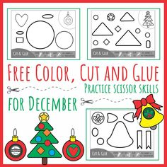 Download these FREE Color Cut Glue for December black and white printables to practice scissor skills, coordination skills and sequencing.