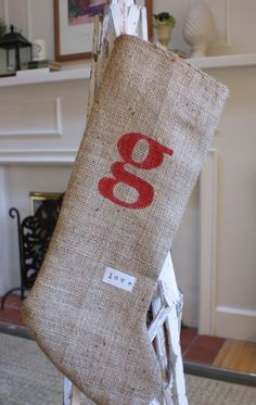 Personalize this Sweet Burlap Stocking by myadobecottage on Etsy
