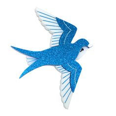 Peppy Chapette Swooning Cindy Swallow brooch in blue. Made in Melbourne by Louisa Camille