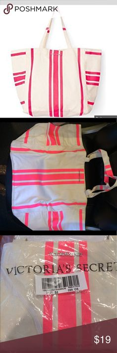 Canvas Pink & White Victoria's Secret Beach Tote Brand new Beach tote from VS. Larger canvas bag and no longer sold online or in stores. This has only been taken out of the plastic bag for this photo. Comes from a smoke free home. Victoria's Secret Bags Totes