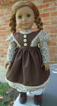 "18"" Doll Clothes Prairie Style Dress and Pinafore Fits American Girl Cecile, Marie Grace, Addy, Kirsten"