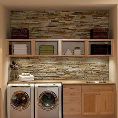 Organized laundry with brick backsplash.love the brick backsplash. It would make doing laundry a lot more enjoyable! Plus who doesn't love a sink in your laundry room? Laundry Room Design, Laundry In Bathroom, Small Laundry, Basement Laundry, Laundry Area, Bathroom Plumbing, Laundry Room Remodel, Laundry Decor, Basement Bathroom