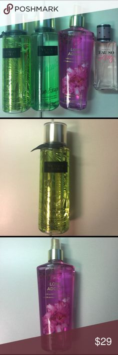 "Victoria's Secret fragrance mist set of 4 All 90-95% full. Fragrances are""Love Addict"" ""True Escape"" ""Blooming Citrus"" ""Eau so Sexy"" retails 65$ All full size 8.4oz except ""Eau so Sexy"" which is 2.5 oz Victoria's Secret Other"