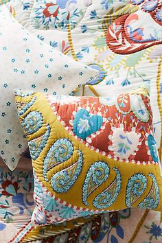 Anthropologie Artisan Quilts by Adilah Euro Sham
