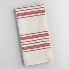 Perfect for everyday use, our classic cotton napkins feature red French-style stripes set against a natural background. Pair them with our coordinating table runner and placemats for a put-together look at a can't-miss price.