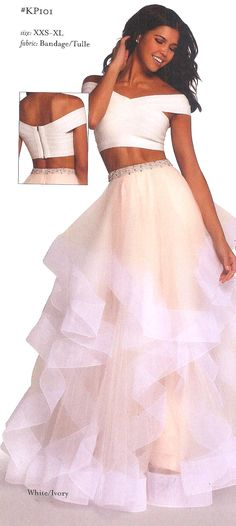 Prom Dresses Evening Dresses by Kalani Prom for ALYCE PARIS<BR>aayKP101<BR>Two piece ball gown with a ruffle layered skirt and off the shoulder bandage bandeau top.