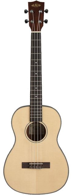 Fitted with a solid Sitka spruce top and mahogany back and sides, these ukes project a rich warm sound. Traditional white/black binding accent the satin finish and chrome die-cast tuners will keep you