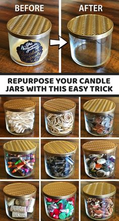 Repurposed Items: How To Recycle Candle Jars! A simple trick to get the wax out easily. – UPCYCLING IDEAS – Repurposed Items: How to Recycle Candle Jars! A simple trick to easily remove the wax – Upcycled Crafts, Repurposed Items, Diy Crafts To Sell, Diy Crafts For Kids, Homemade Crafts, Recycled Decor, Repurposed Shutters, Rock Crafts, Diy Crafts Home