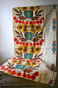 Vintage 1960s Mid Century Modern Mod Linen Fabric Flower Power Scandinavian