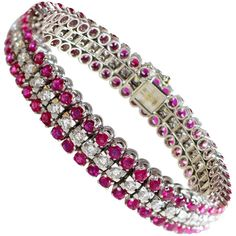 Ruby and Diamond Bracelet   From a unique collection of vintage more bracelets at https://www.1stdibs.com/jewelry/bracelets/more-bracelets/