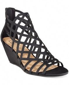 dc70557a3a91b9 Material Girl Henie Caged Demi Wedge Sandals