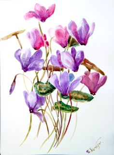 Cyclamens, original watercolor painting, 9 X 12, purple flowers. $28.00, via Etsy.