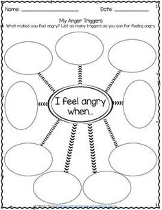 Anger Management Worksheets Identifying Triggers for Anger - Free by Pathway 2 Success Anger Management Worksheets, Counseling Worksheets, Therapy Worksheets, Counseling Activities, Classroom Management, Anger Management Activities For Kids, Stress Management, Anger Management Counseling, Play Therapy Activities